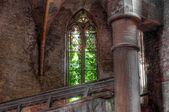 Old dilapidated church window — Foto Stock
