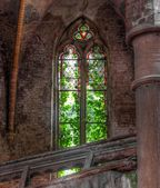 Old dilapidated church window — Stok fotoğraf