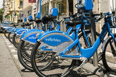 Row of bicycles for hire in Nice in France — Stock Photo