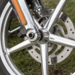 Motorcycle front wheel — Stock Photo
