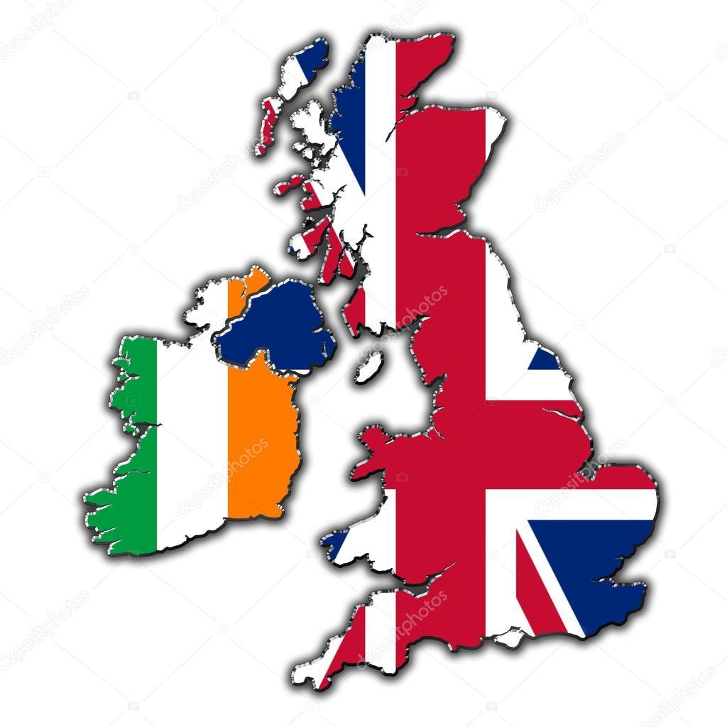 程式化的英国和爱尔兰在标志中涵盖大纲地图