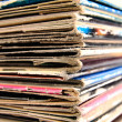 Stock Photo: Stack of vinyl records in covers made of paper