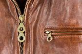 Deri ceket ile fermuar ve cep — Stok fotoğraf