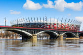 Poniatowski Bridge and National Stadium — Stock Photo