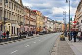 Nowy Swiat street in Warsaw, Poland — Stock Photo