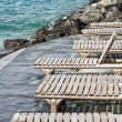 Deck chairs on the shores of Lake Geneva — Stock Photo