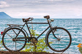 Old bicycle adorn the promenade in Montreux — Stock Photo