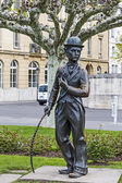 Charlie Chaplin statue in Vevey — Stock Photo