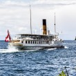 La Suisse vessel departs Montreux marina — Stock Photo