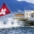 Stern of  departing La Suisse vessel — Stock Photo