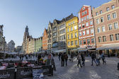 Tenements in old Market Square in Wroclaw — Stock Photo