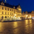 Modern fountain, old Market Square in Wroclaw — Stock Photo