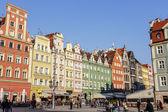 Tenements in old Market Square, Wroclaw — Stock Photo