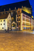 Tenements Jas i Malgosia at night, Wroclaw — Stock Photo