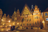 Old Town Hall in Wroclaw, night view — Stok fotoğraf