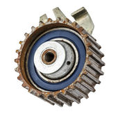 Worn out pulley of timing belt — Stock Photo