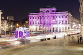 Staszic Palace decorated for Christmas in Warsaw — Stock Photo