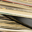 Stack of vinyl records in covers — Stock Photo