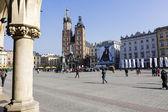 St. Mary's Church in the distance in Krakow — Foto de Stock