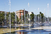 Fountain at Promenade du Paillon in Nice — Stock Photo