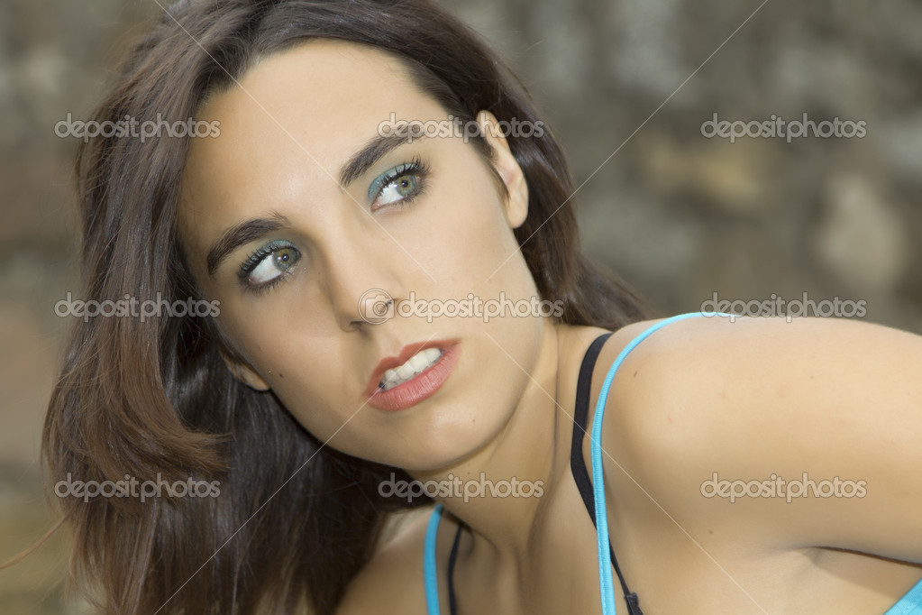 Face of attractive woman with stunning eyes  Stock Photo #12843341
