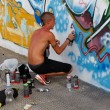 Madrid, SPAIN Sep 18 - graffiti artists work on their creations — Stock Photo #13180735