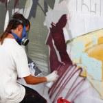 Madrid, SPAIN Sep 18 - graffiti artists work on their creations — Stock Photo
