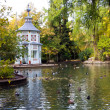 Fall in a lake with marble temple - Lizenzfreies Foto