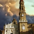 Cathedral of La Seo before the storm in Zaragoza, Spain - Stock Photo