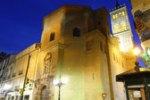 Kirche von San Gil Abad bei Nacht, Zaragoza, Spanien — Stockfoto