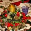 Table prepared for Christmas dinner — Stock Photo