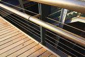 Modern wood and steel railings — Stock Photo