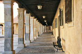 Typical arcaded streets of the city of Burgo de Osma in Spain — Stock Photo