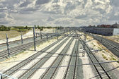 Perspective of some train tracks — Stock Photo