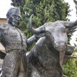 Stock Photo: Bronze sculpture of matador bullfighting