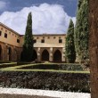 Courtyard of the famous Monasterio de Piedra year 1194 in Nueva — Stock Photo #22223163