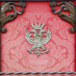 Nobility old box with wood and decorated with red cloth emblem — ストック写真 #23110072