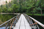 On a quiet lake floating wooden bridge — Stock Photo