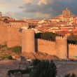 Avila walls at sunset in Avila Spain — Stock Photo