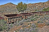 Old coal wagons abandoned on the tracks — Foto de Stock