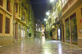Streets of the city of Cartagena at night with lighting, spain — Stock Photo