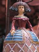 Porcelain figurine of a girl dressed XV century — Stock Photo