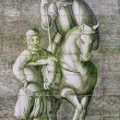 Ceramic wall picture of Don Quixote and Sancho Panza — Stock Photo