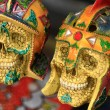 Porcelain ornament skulls Mexican decor — Stock Photo