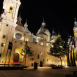 Night Cathedral Basilica of our Lady of the pillar built in the year 1681 in Zaragoza, Spain — Stock Photo
