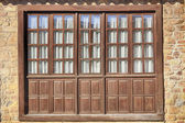 Wood and glass windows in Santillana del Mar Spain — Stock Photo