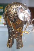 Nice very decorated metal elephant — Stock Photo