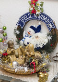 Small Christmas figures forming a belen — Stock Photo