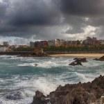 Beautiful landscape with sea coast and big clouds — Stock Photo #35287289