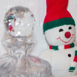 Ornament snowman home made with fabric and cotton — Stock Photo